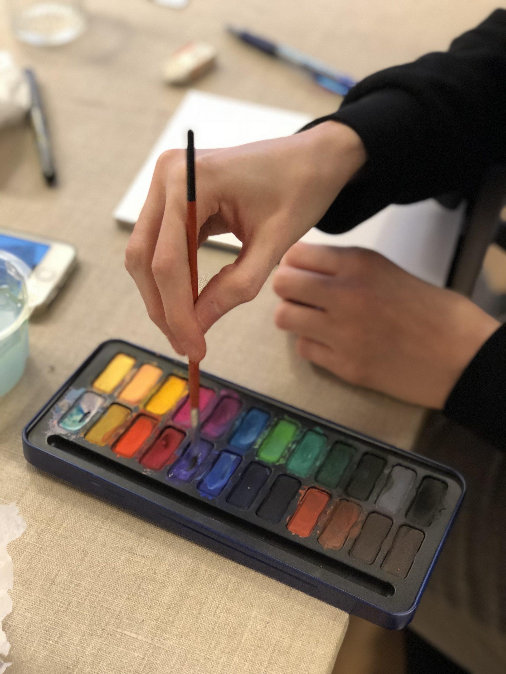 Olika vattenfärger som används till att måla